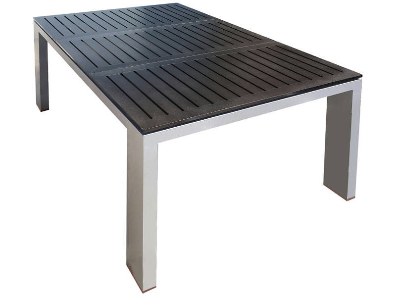 Mesa APOLLO Rectangular de 150x100 cm base gris y tapa negra