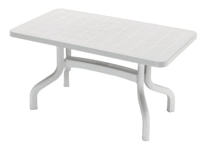 Mesa rectangular plegable con pata central de 140x80 cm.